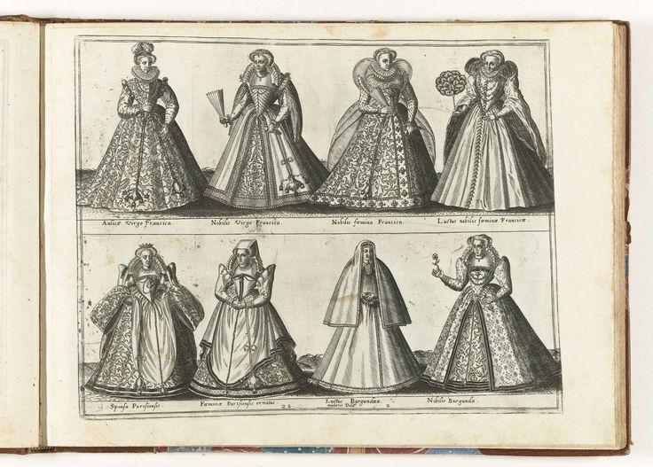 Acht vrouwen, gekleed volgens de mode in Frankrijk, ca. 1580, Abraham de Bruyn, in of voor 1581