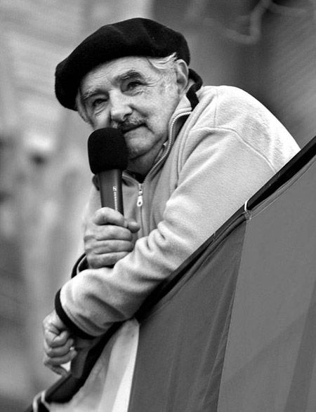 """Jose' Mujica - 77 year old president of Uruguay - donates 90% of his salary to charity. Lives on $1250 per month, has no bank accounts, drives a VW worth $1945, lives in a farmhouse with his wife and dog. Country is known for its low level of corruption. Says he sleeps well at night. If you ever find yourself asking, """"What would Jesus do?"""" I think this might be the answer.."""