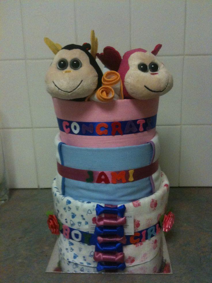 Girl/boy twin Nappy Cake $100