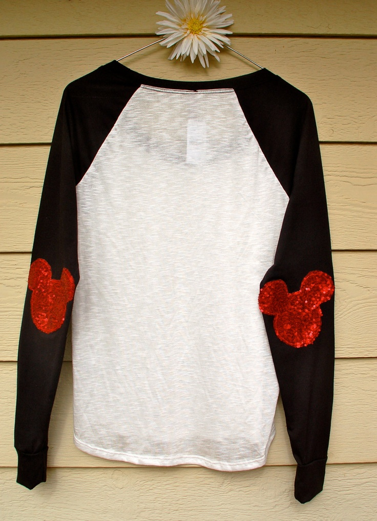 "The ""Dazzle Patch"" Mickey Baseball Tee -  w/Mickey  Elbow Patch. $50.00, via Etsy."