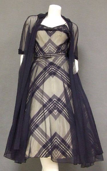 Taffeta and Navy 1950s dress w/ long jacket
