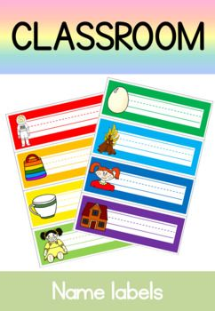 Use these colorful name labels on students cubbies, desks or work trays. 2 sets of 26 included, each with one picture for each letter of the alphabet. Part of a set of classroom set-up resources available in this store.
