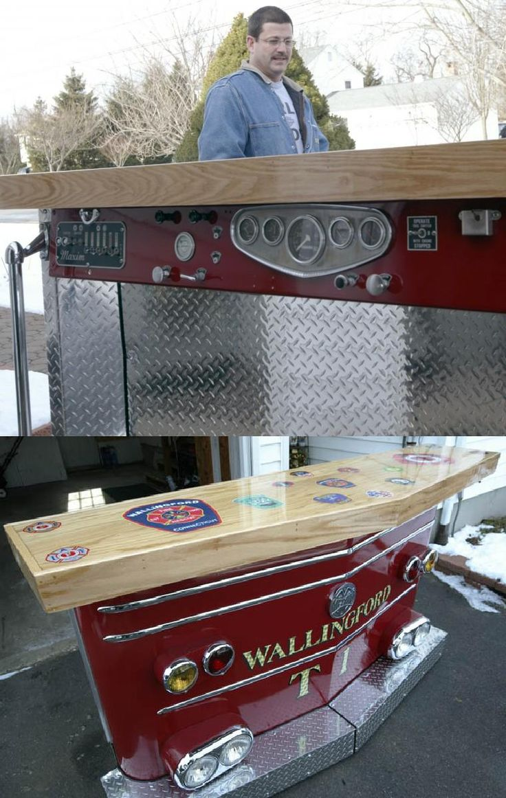 DIY: Firefighter converts a decommissioned fire truck into a man cave bar. | Shared by LION