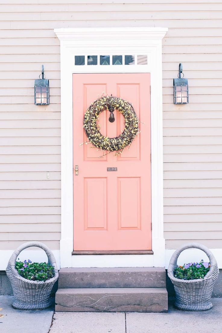 Coral Front Doors, Front Door Colors, Coral Door, Coral Walls, Coral Paint  Colors, Best Paint Colors, Exterior Front Doors, Exterior Paint, Porch Paint