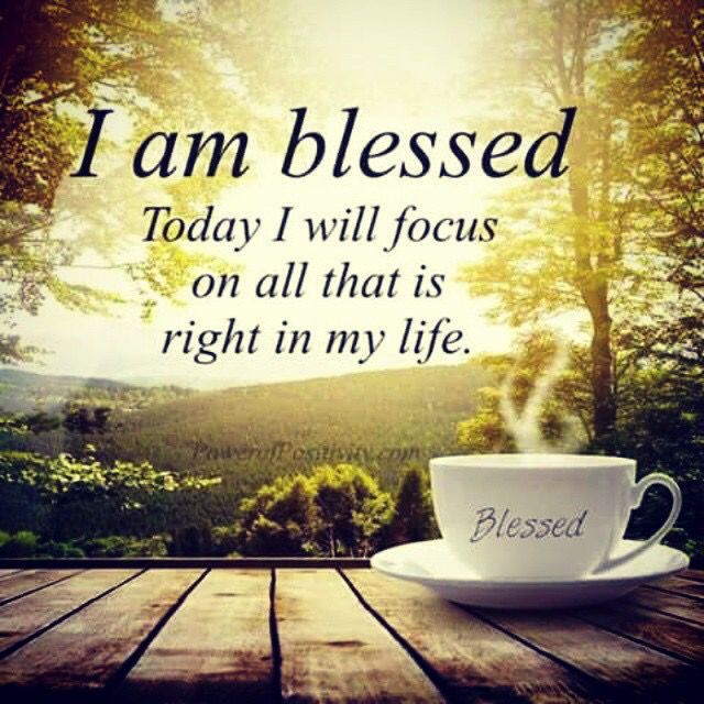 I am blessed today I will focus on all that is right in my life.