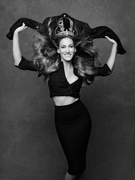 SJP modelling the Little Black Jacket, Revisted. For Chanel by Karl Lagerfeld and Carine Roitfeld.