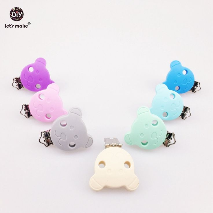 Let's Make Pacifier Chain Clip Pacifier Clip 5pc Silicone Selectable Silicone Teething Beads Suspender Clip Round Baby Teether
