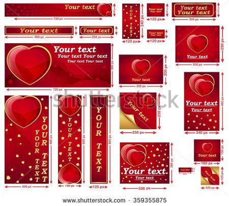 Love / Valentine's Day web banner set. Contains a lot of sizes.