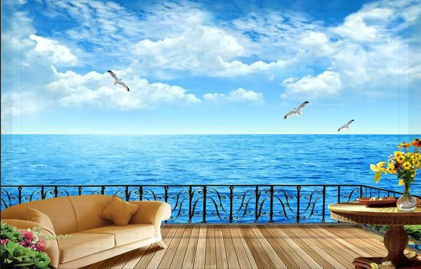 Wallpaper balcony with sea view tv backdrop wallpaper for Balcony view wallpaper