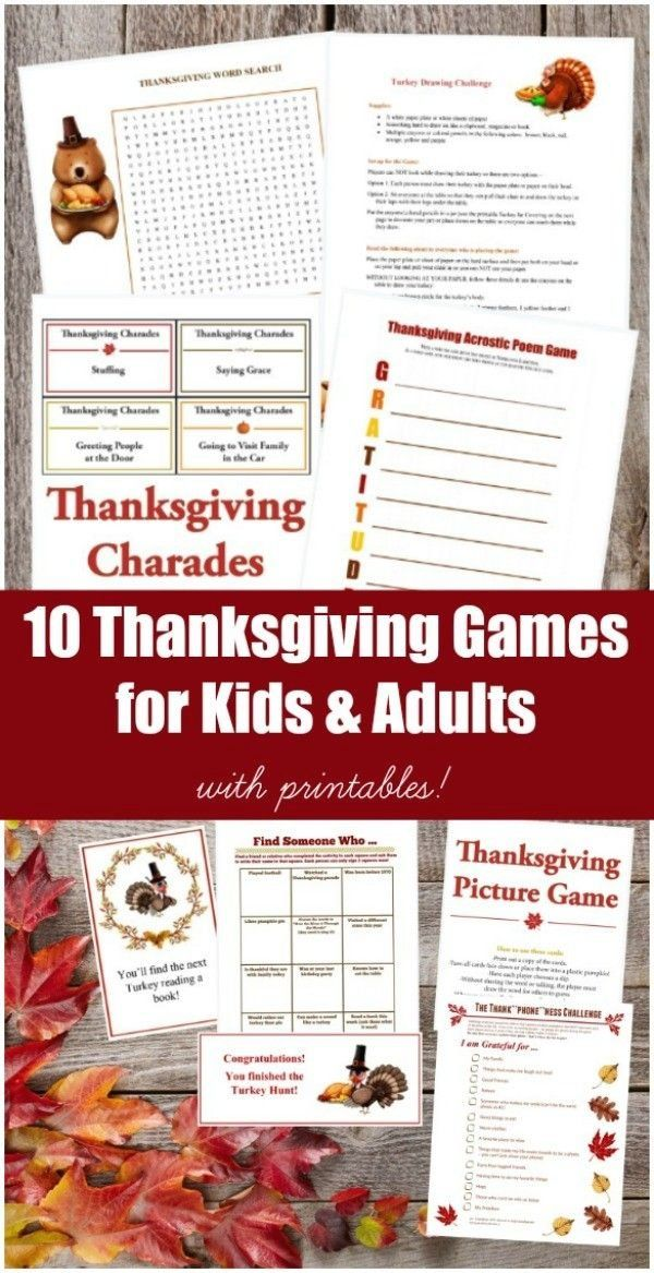 10 Printable Thanksgiving Games for Kids & Adults 1000