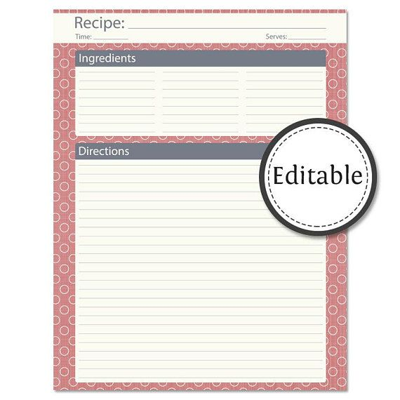 Recipe Card Full Page Fillable Instant Download Printable Pdf Recipe Cards Template Recipe Template For Word Recipe Cards