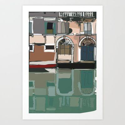 Venice Lagoon Art Print by Aziza Vasco - $22.88