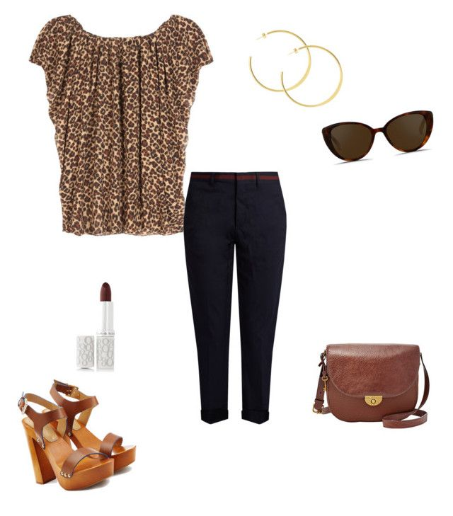 """""""Summer evening out"""" by wardrobepieces on Polyvore featuring Miu Miu, Yves Saint Laurent, Dsquared2, Linda Farrow, Elizabeth Arden and FOSSIL"""