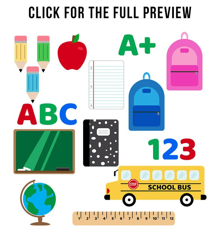 School Clipart Set, Back to School, School Supplies, Education Clipart, By Digit…