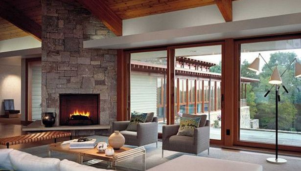 Living Room Living Room Killer Contemporary Living Room Solid Oak Pine Wood Living Room Ceiling And Corner Grey Stone Fireplace L Shape White Leather Living Room Sofa Attractive Easy Living Rooms Decoration That Make Romantic  Ambience