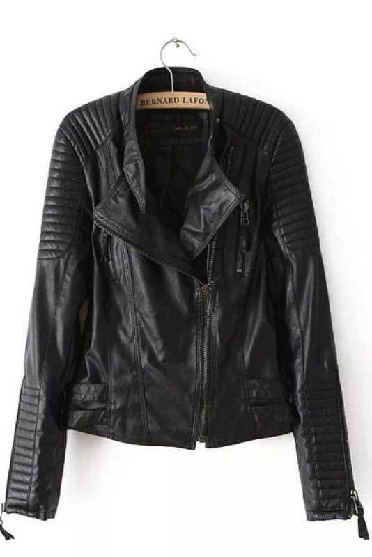 Black Faux Leather Quilted Sleeves Soft Moto Jacket #moto #jacket #genuinepeople