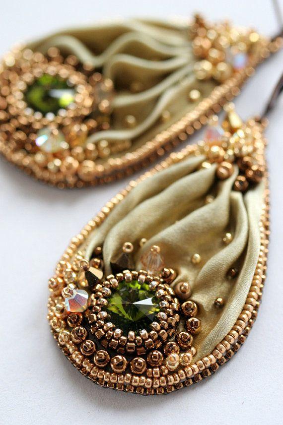 Beaded Shibori Earrings with Swarovski  Olive Gold by ZuziHake