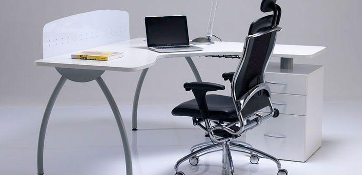 Ergonómico serva -- Características: La principal característica de esta línea de escritorios es el diseño del tablero de trabajo. Infórmate más sobre este mueble dándole clic a la imagen.