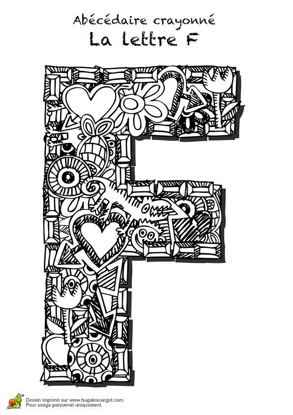 Coloriage abecedaire crayonne lettre f sur Hugolescargot