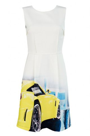 White summer midi dress with an author car print. Keep this style in focus with simple accessories.