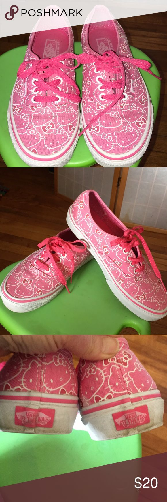 Hello Kitty Vans Here are a pair of Hello Kitty off the wall Vans. Men's size 6.5 woman's size 8. Pink with small white dot laces. Slight discoloration on back heels near logo does not distract from shoes, but otherwise in EUC . Very clean and ready to go. Get you Hello Kitty's on!👟👟😎 Vans Shoes Sneakers