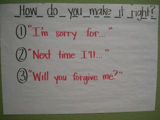 """Forever in First: classroom management.  Teach Students how to say, """"I'm sorry"""" with meaning."""