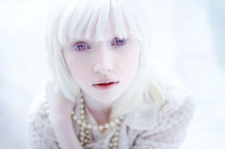 Beautiful albino model Nastya Zhidkova