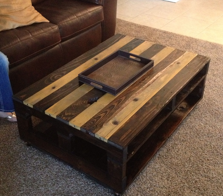 Coffee table out of an old pallet from work.