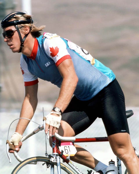 Steve Bauer wearing the Canadian Olympic national jersey, 1984 Los Angeles Olympics road race.