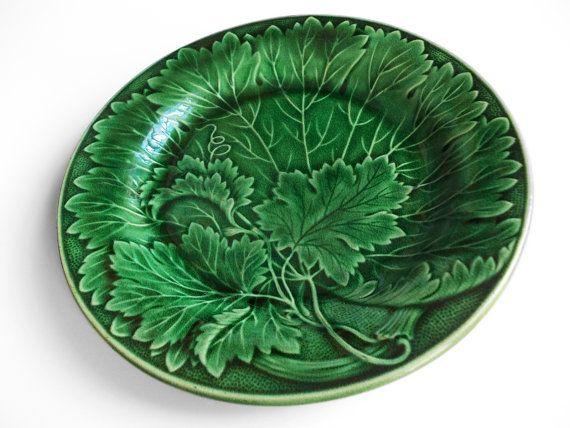 Emerald Green Majolica Plate Antique Victorian Grape Vine or Cabbage Leaf Plate Decorative