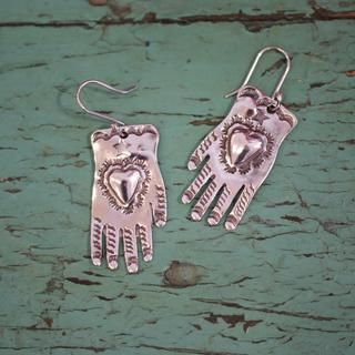 a7d8c227b Sterling Silver Hand Earrings - Zinnia Folk Arts | Everything Mexico ...