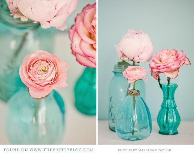 Pink und Türkis - Dekor | Pink & Turquoise - Decor Inspiration  I would use purple flowers instead