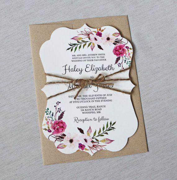 Boho Hochzeitseinladung, Floral Hochzeitseinladung, moderne Hochzeitseinladung, Floral, Shabby Chic Hochzeitseinladung, Boho Floral lädt, die perfekte Mischung aus rustikal, Modern, böhmische Design und Jahrgang. Abgerundet mit passenden Umschlag-Liner. Die Hochzeitseinladung auf aus weißen Karte auf Papier gedruckt wird, sterben alte Form geschnitten und mit Bindfäden Bogen gewickelt. Die Farben der Umschläge können angepasst werden Koordinieren auch Elemente wie z. B. Programme…