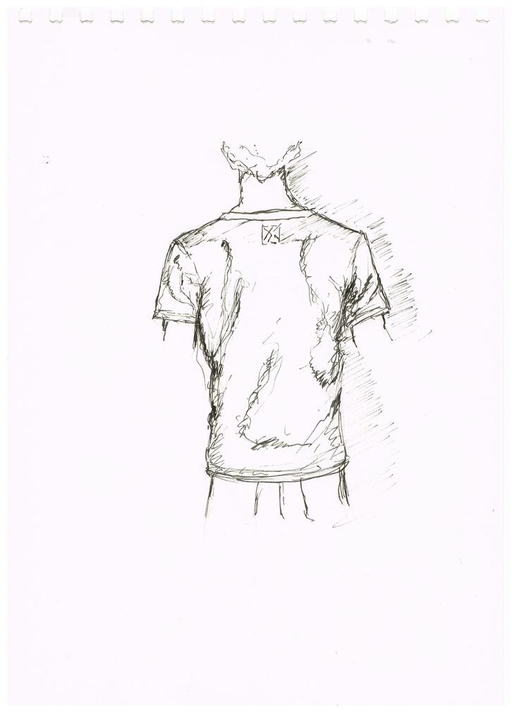 Linienrausch T-Shirt-Skizze - Rückenanischt