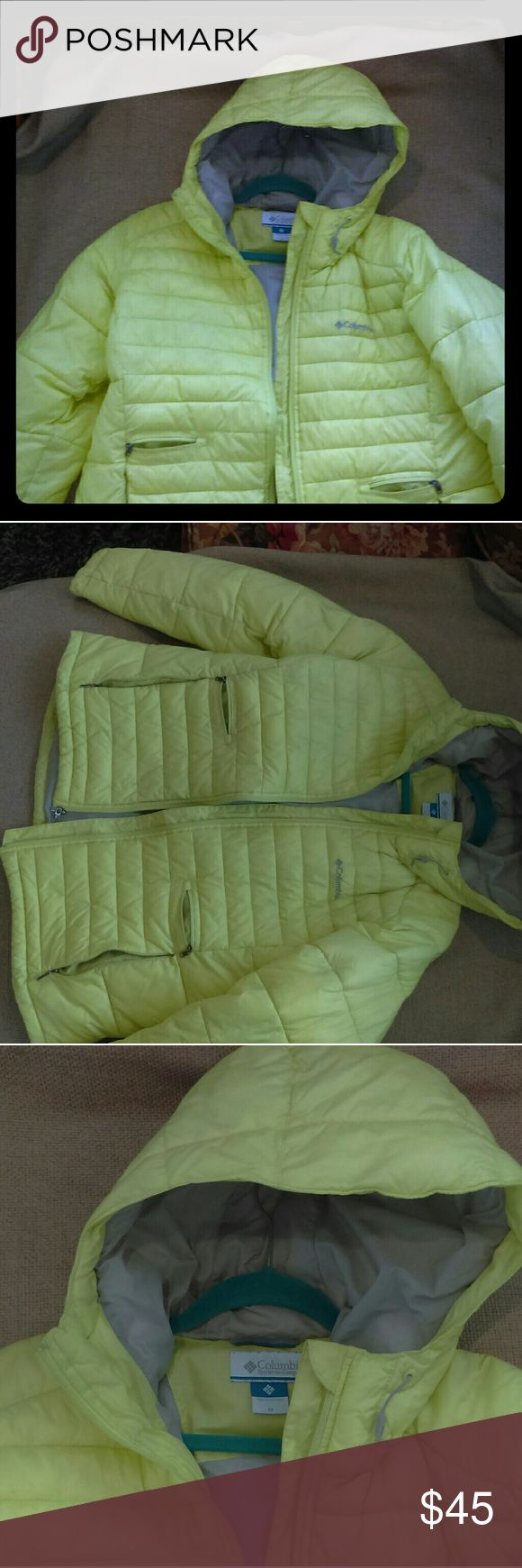Columbia Parka, 1X Women's Bright yellow winter parka from a great brand, Columbia. Warm down fill, size 1X fits women sizes 12-16. Gently used, no holes or tears. Color is brighter than appears in the photo. Columbia Jackets & Coats Puffers