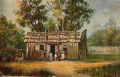 A postcard of an Australian Family Hut circa 1880