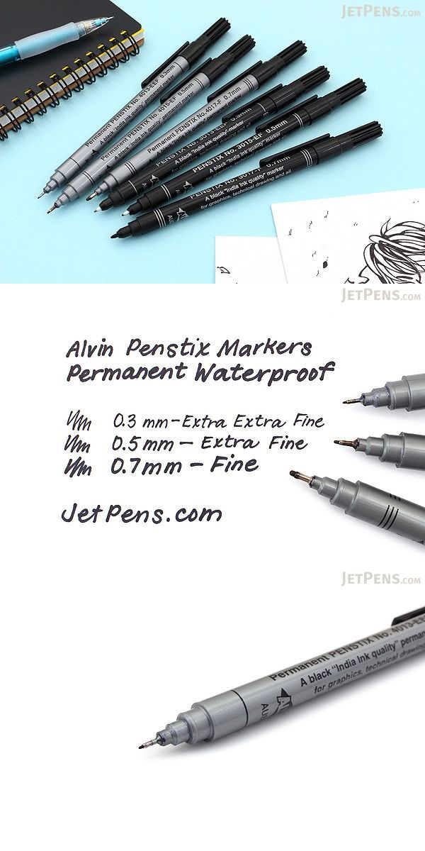 ALVIN 3015-EF PENSTIX BLACK TECHNICAL MARKER EXTRA FINE