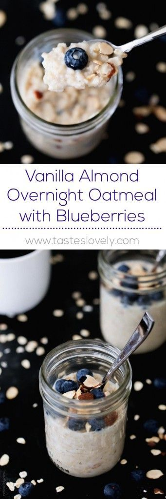 Vanilla Almond Overnight Oatmeal with Blueberries - a quick and healthy make ahead breakfast that is dairy free, gluten free, vegan, sugar free, and low calorie! (Breakfast Recipes Make Ahead)