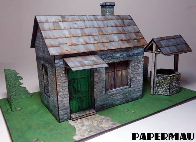 Old Stone House with Well for Diorama Free Papercraft Download - http://www.papercraftsquare.com/old-stone-house-with-well-for-diorama-free-papercraft-download.html#Diorama, #House, #Well