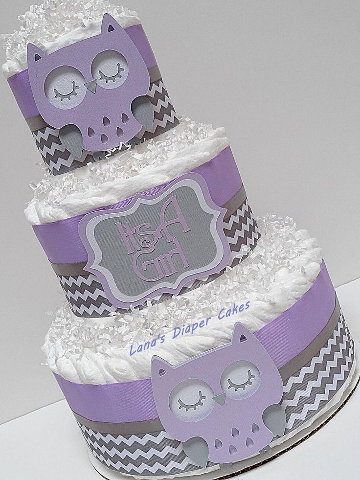 3 Tier Purple & Grey Owl Diaper Cake, Woodland Centerpiece, Chevron Centerpiece by LanasDiaperCakeShop on Etsy https://www.etsy.com/listing/490935107/3-tier-purple-grey-owl-diaper-cake