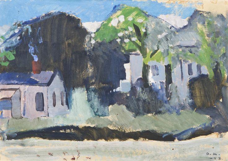 Otto Mäkilä: Taloja, 1947, öljy, 31x43 cm - Hagelstam A135
