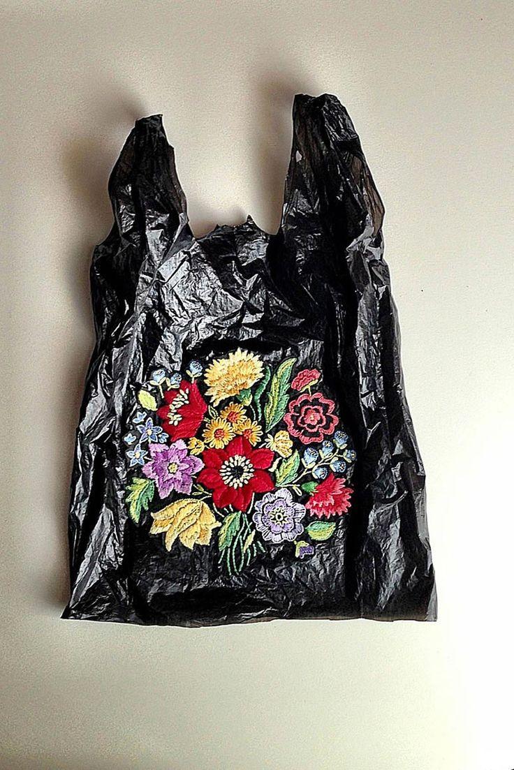 Nicoletta De La Brown's embroidered plastic bags