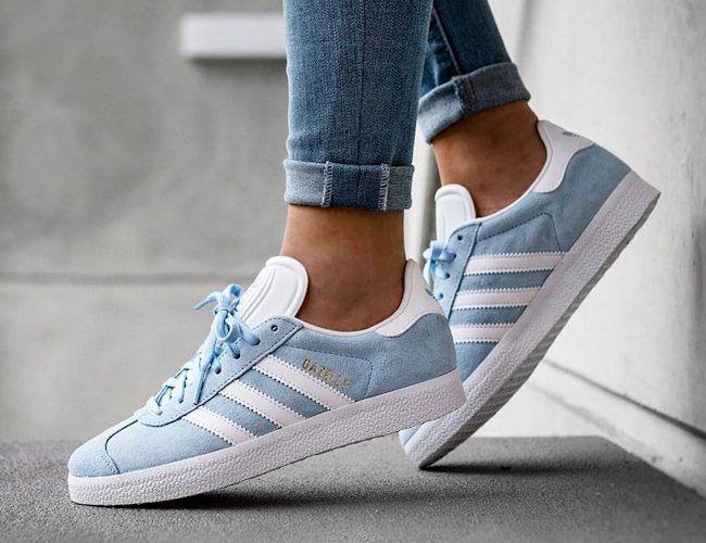 Baskets Gazelle Cuir Velours Bleu ciel, Adidas.