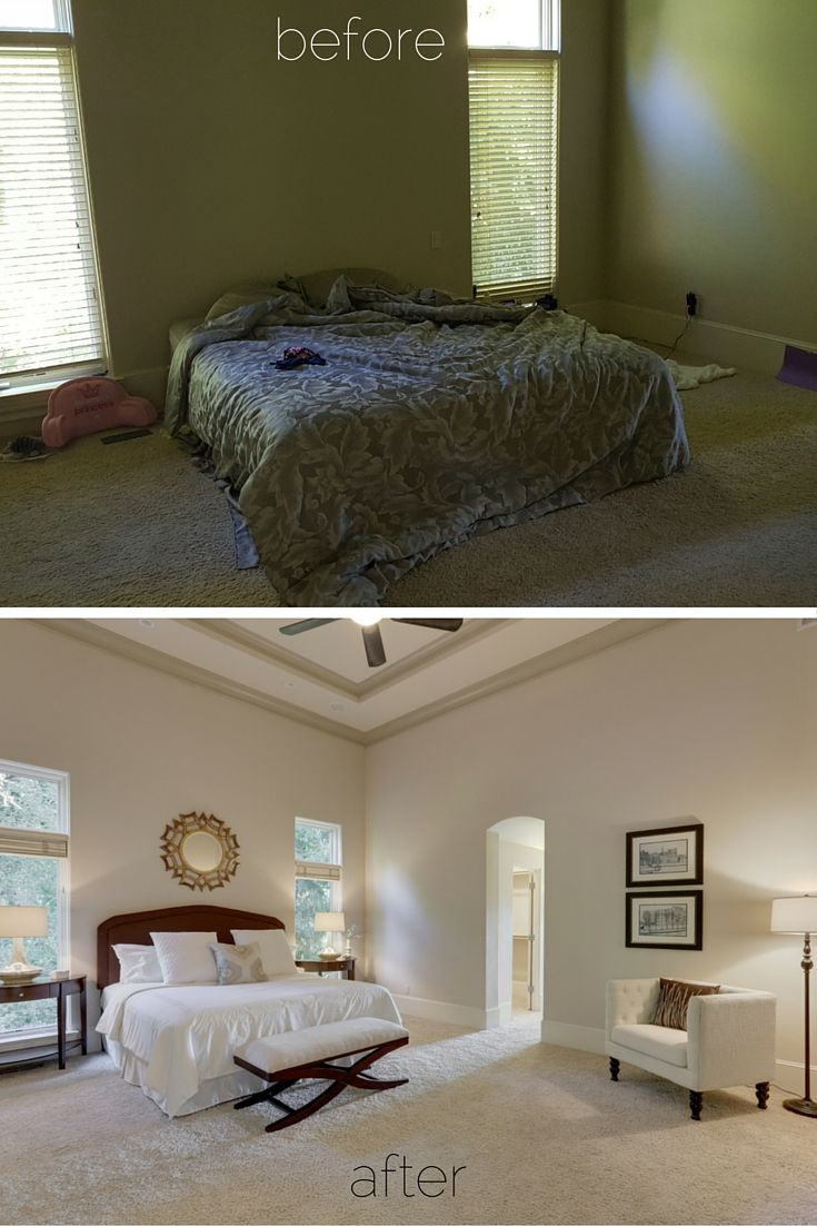 Before after staging master bedroom of a river front home in west linn or bedrooms by Master bedroom home staging