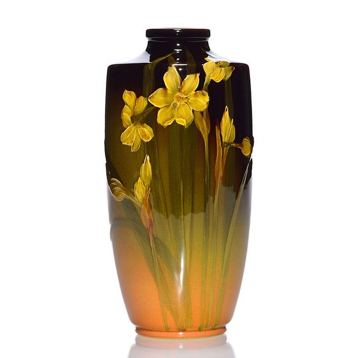 Rookwood Standard glaze vase decorated with daffodils, the work of Carrie Steinle in 1898. Marks include the Rookwood Pottery logo, which indicates the date, shape 735 DD and Ms. Steinle's monogram.