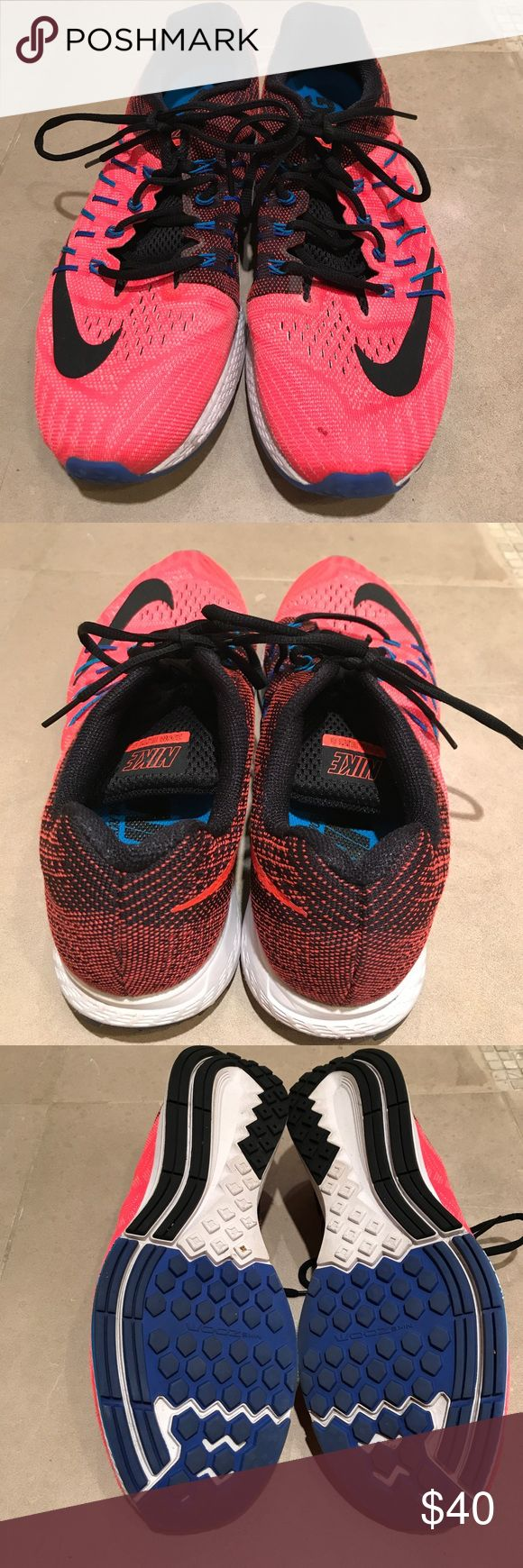 Men's Nike Zoom Elite 8 Neon orange black trim worn Nike Elite 8. Notice small stain ( see in photo) near roe of left shoe. Inside of shoe in very good condition.. Nike Shoes Sneakers