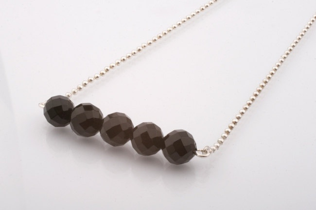 Faceted Black Onyx Bar Necklace. Black and Silver necklace.
