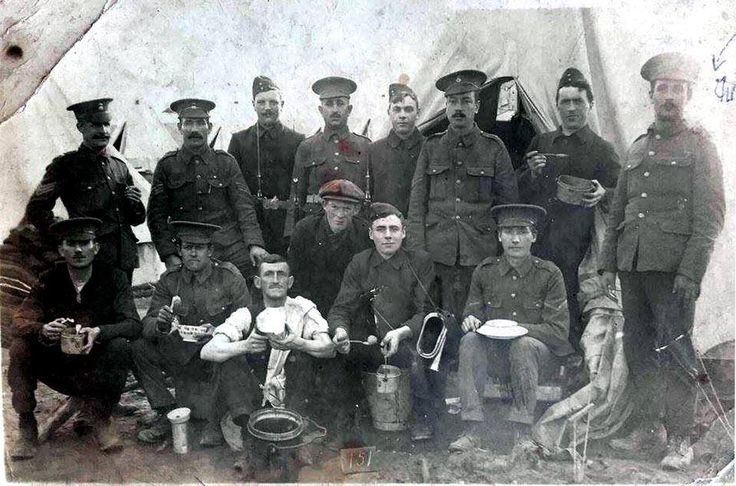 Chamberlain, Charles, LCpl 13705 9 RWF, enlisted 04.09.14, disembarked France 19.07.15, Silver Wound Badge 336, 371 21.09.17 Left figure standing. far right.