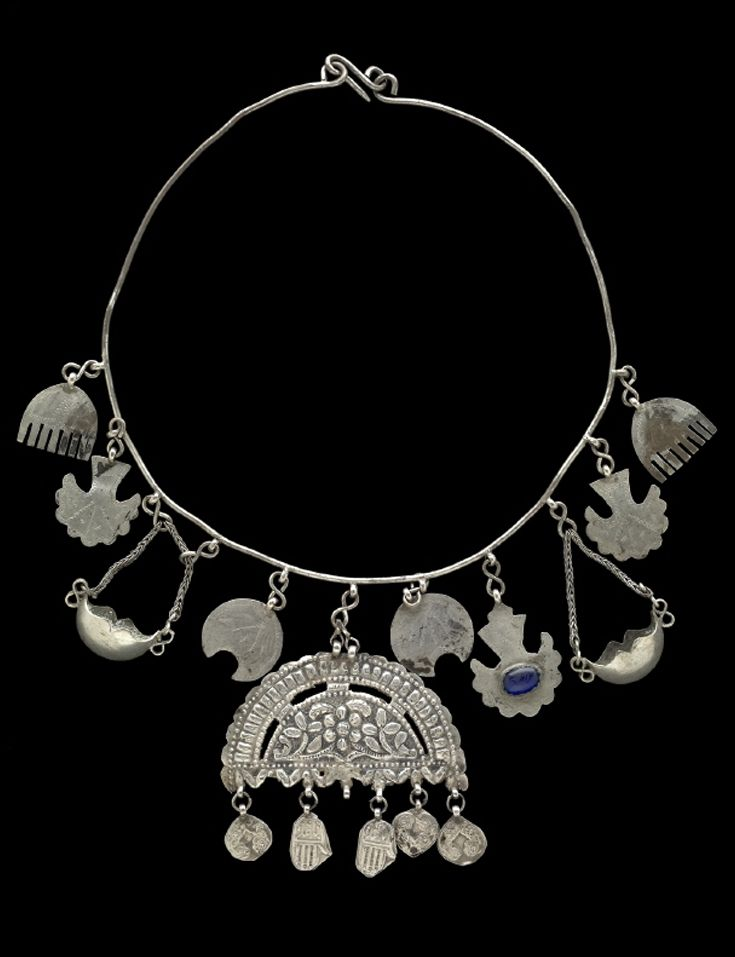 Iraq | Woman or child's protective amulet necklace from the Kurdish people of Süleimaniye | Early 20th century | Silver