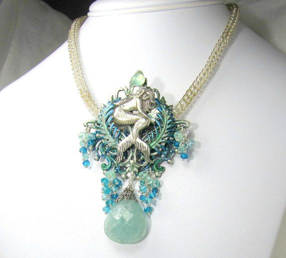 CRAFTY MERMAID AND FAIRY ARTISTS Mermaid Necklace Sterling SilverAquamarine  by SirenJewells